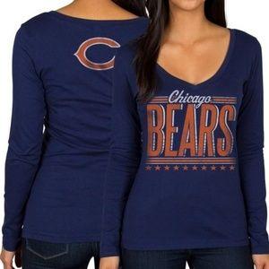 JunkFood navy Chicago Bears v-neck longsleeve